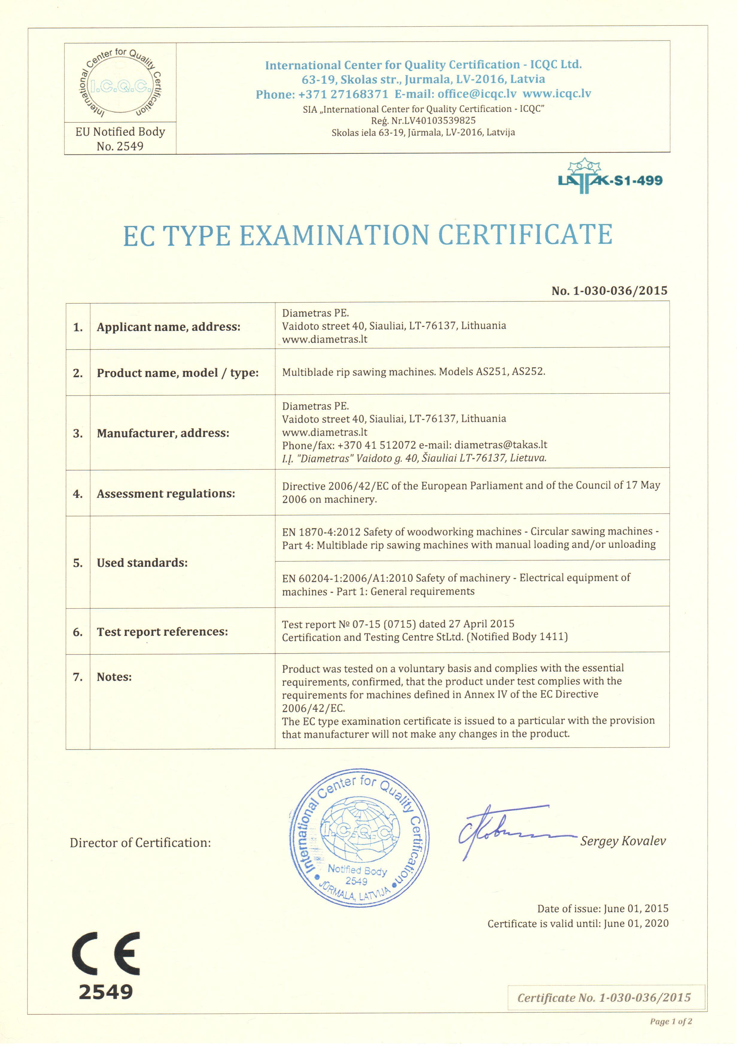 EC-type examination certificate ЕС Сертификат испытания типа сертификация Директива 2006/42/ЕС